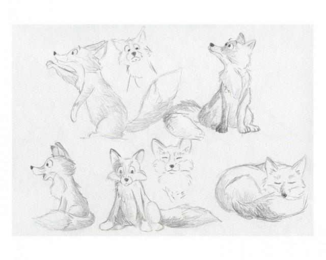 Croquis crayon renards