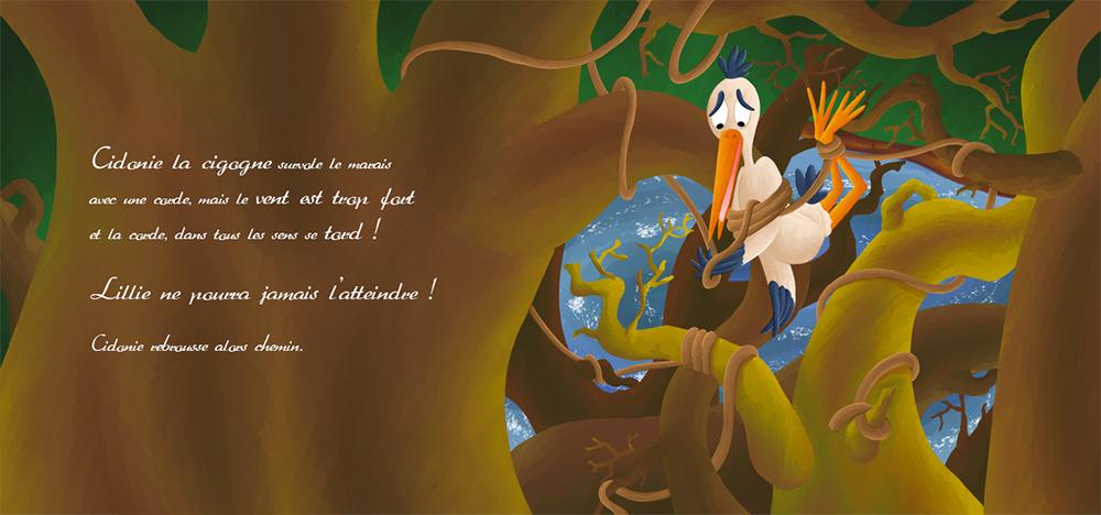 Album la cigogne coincée dans un arbre