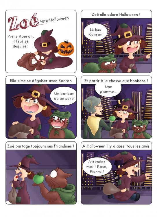 BD jeunesse Zoé et Ronron le chat fêtent Halloween