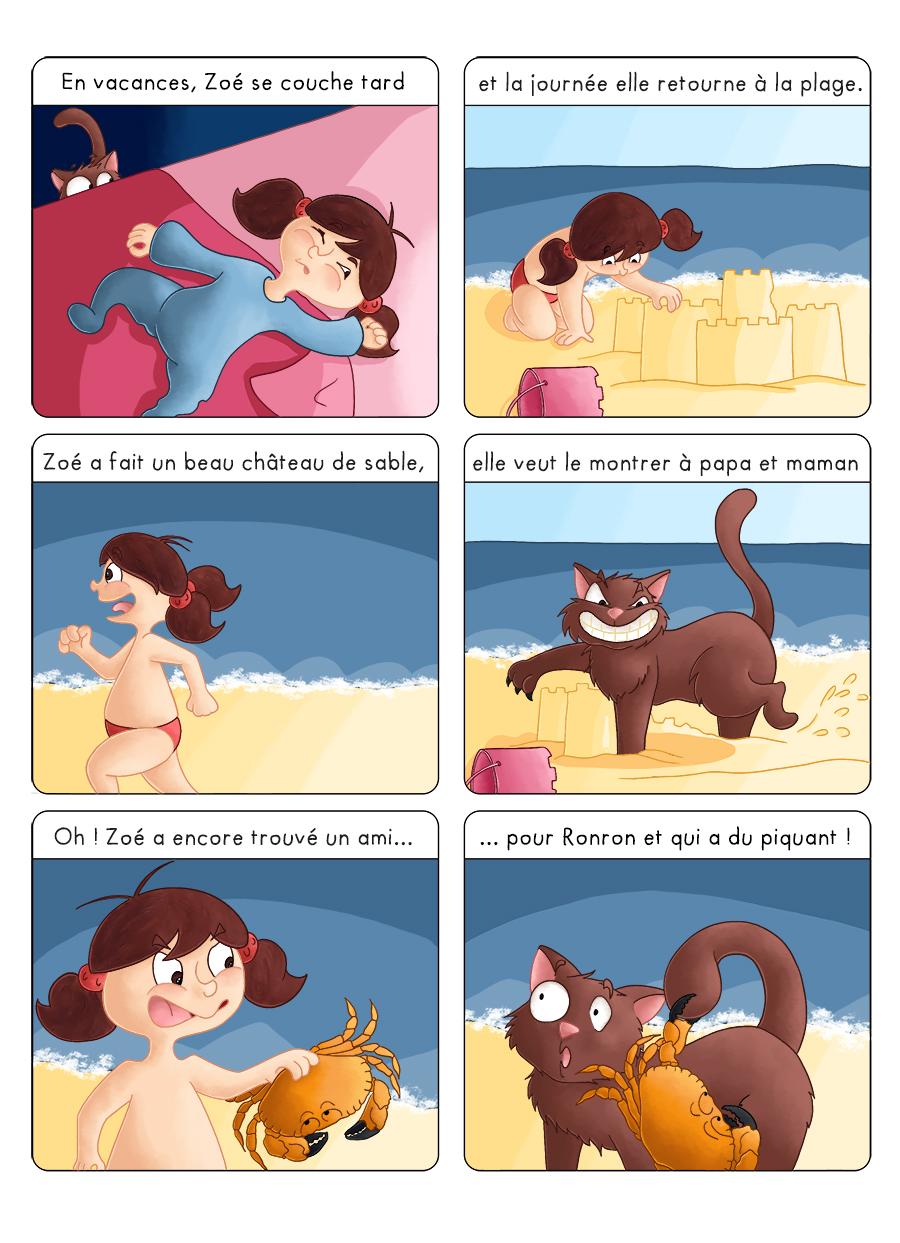 BD jeunesse Zoé et ronron en vacances à la mer