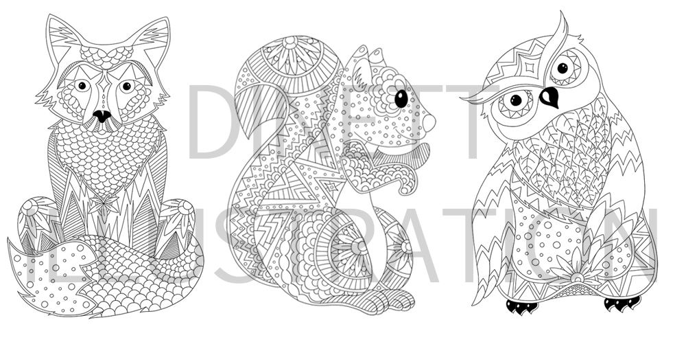 Coloriage anti stress les animaux dinett illustration - Coloriage anti stress gratuit ...