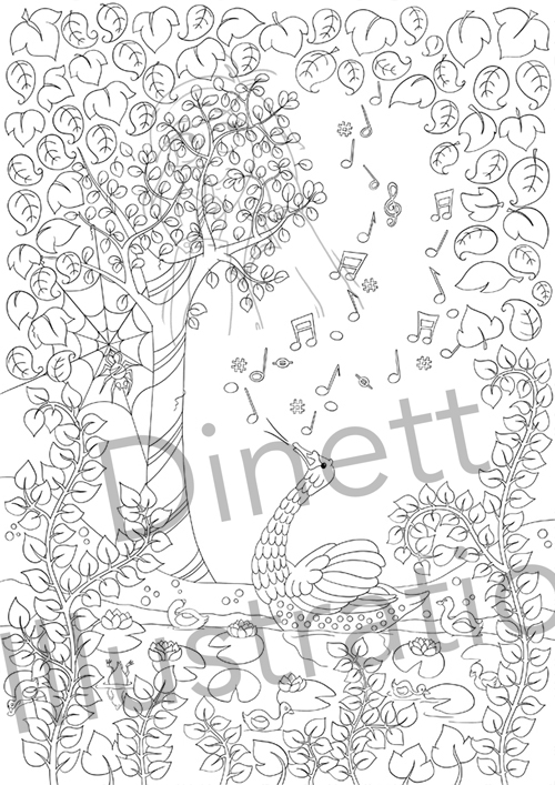 Coloriage anti-stress le chant du cygne