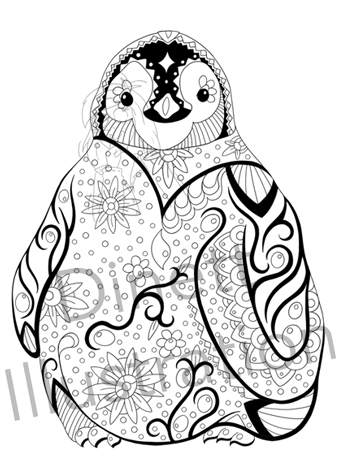 Coloriage anti-stress le pingouin