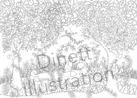 Coloriage anti-stress la forêt enchantée