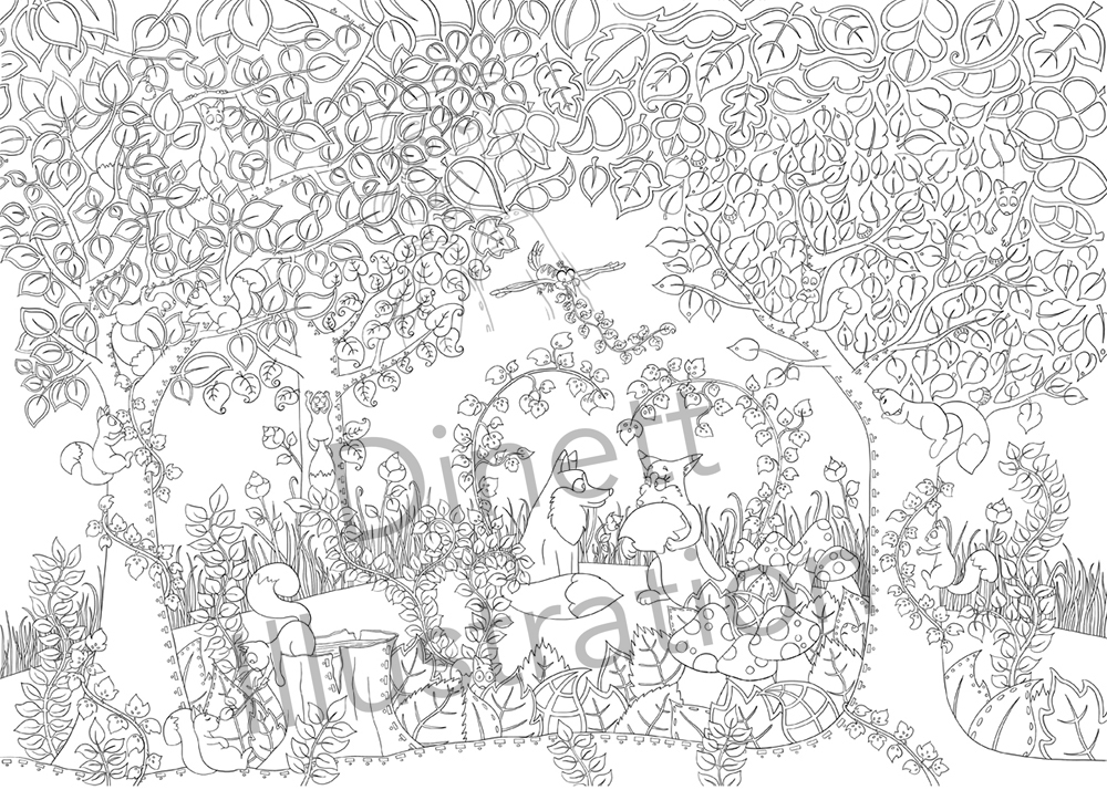 Coloriage Famille Blaireau Renard.Coloriage Anti Stress La Foret Enchantee Dinett Illustration