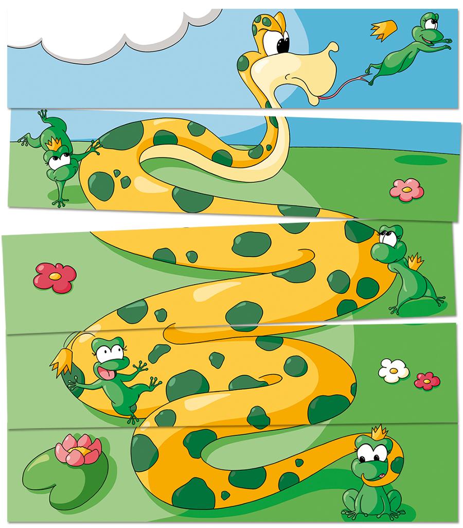 Puzzle serpent mange grenouille
