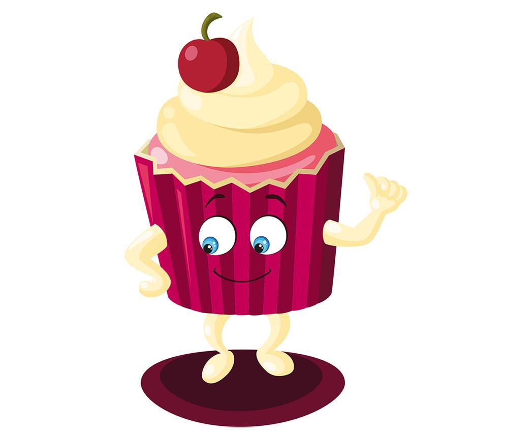 Création et illustration de mascotte cup-cake en vectoriel
