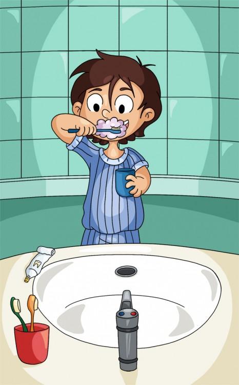Illustration parascolaire se laver les dents