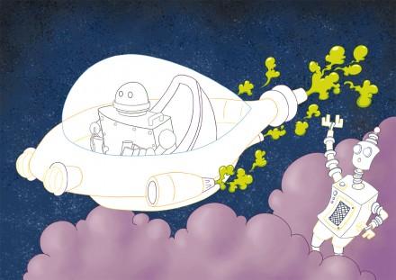 Coloriage à compléter les robots de l'espace
