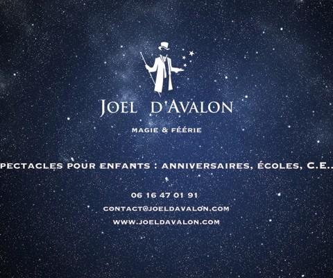 Dos du dépliant de jeux pour le magicien Joël d'Avalon