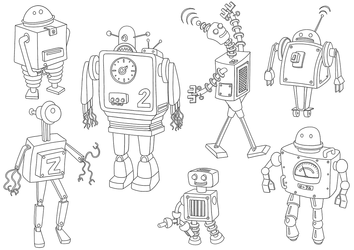 Coloriages les robots dinett illustration - Coloriage de robots ...