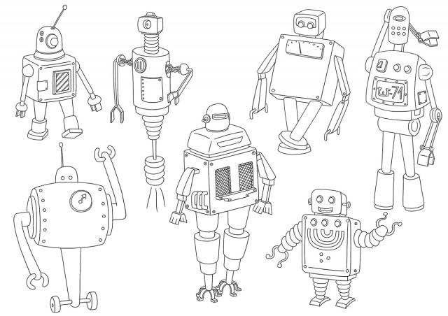 Coloriages planche de robots