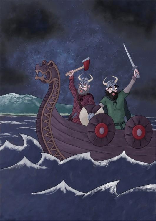 Illustration parascolaire les vikings débarquent en drakkar