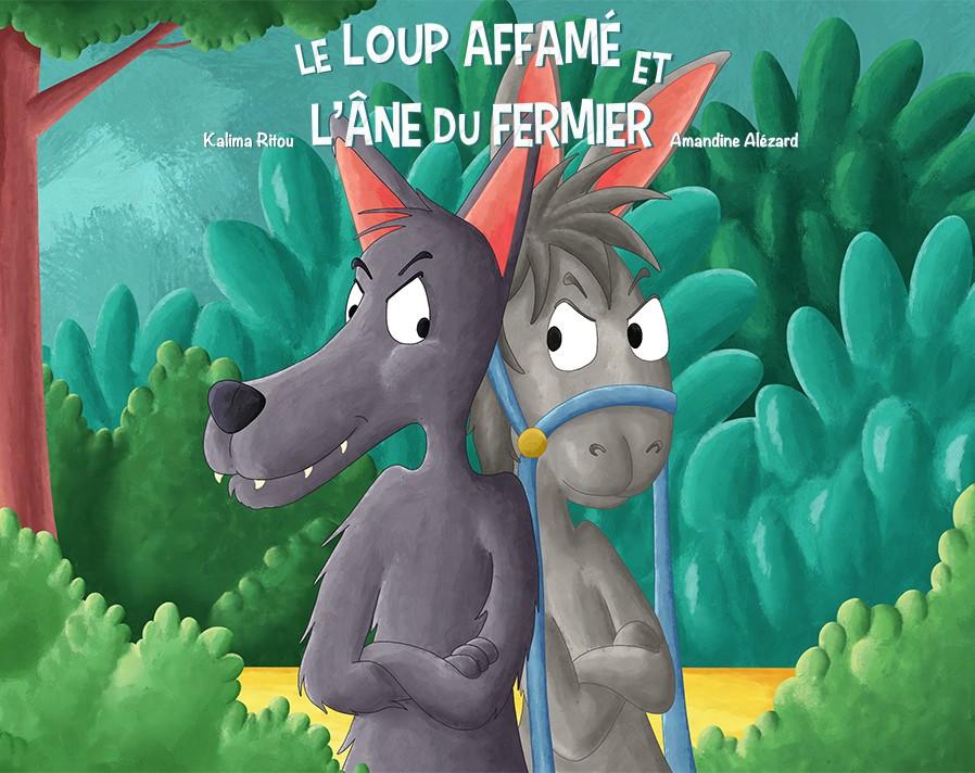 Couverture album jeunesse le loup affamé et l'ane du fermier