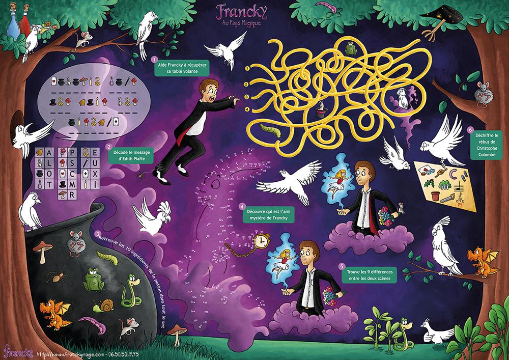 Set de jeux pour gouter d'anniversaire magique de Francky le magicien