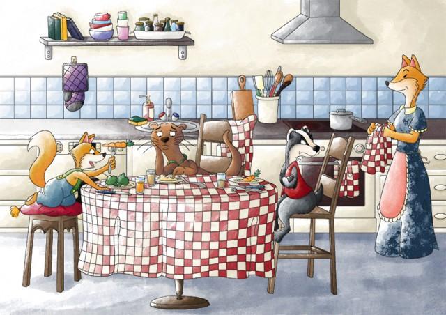 Illustration jeunesse : la famille renard