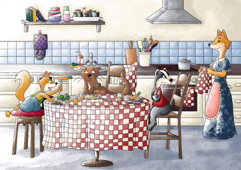 Illustration jeunesse la famille renard à table