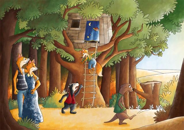 Illustration jeunesse la famille renard en forêt