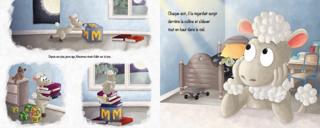 Illustration projet album jeunesse petit mouton rêve d'aller sur la lune