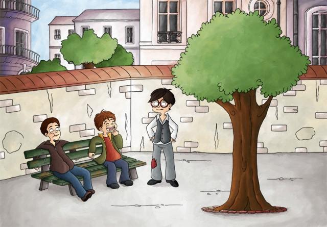 Illustration jeunesse cours d'école