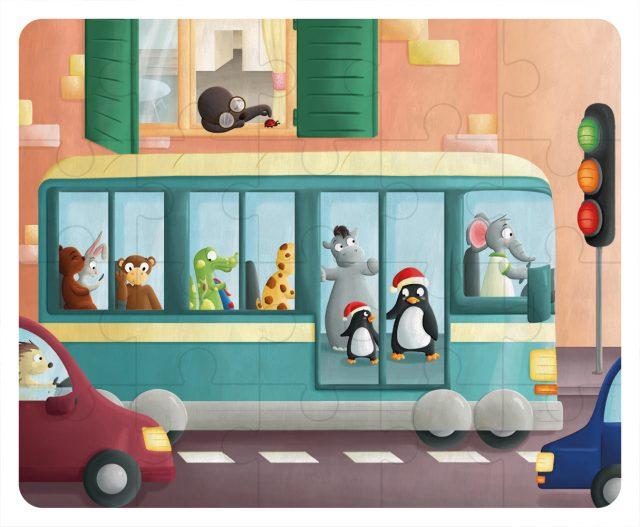 Illustration puzzle - le bus