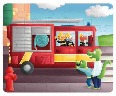 Illustration puzzle - le camion de pompier
