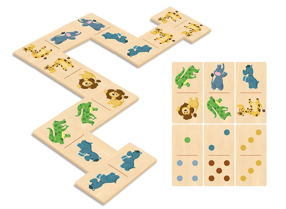 Illustration de jeu de dominos en bois