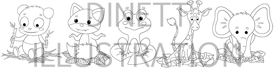 Coloriage A Imprimer Pour Enfant Les Bebes Animaux Dinett Illustration