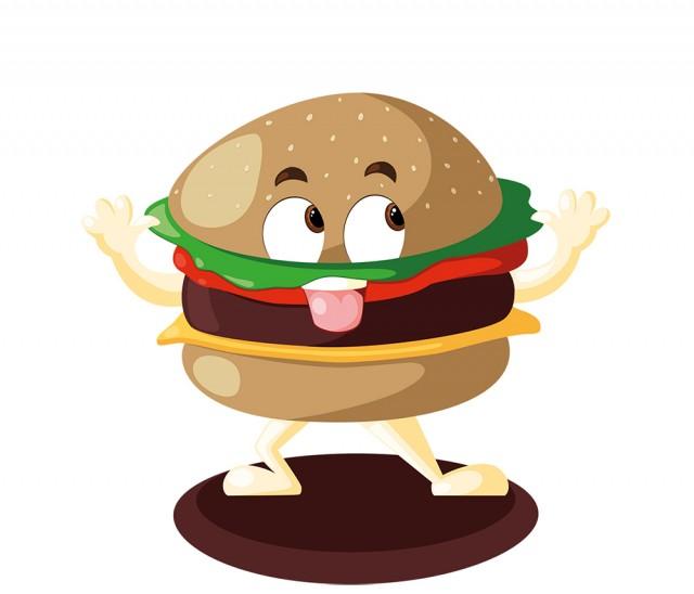 Création et illustration de mascotte burger en vectoriel