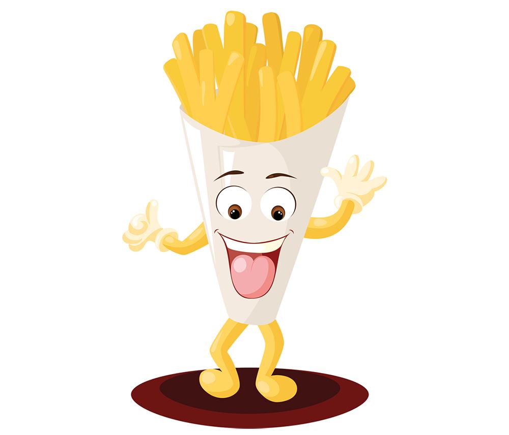 Création et illustration de mascotte cornet de frites en vectoriel