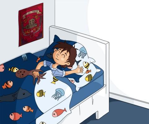 Illustration parascolaire dormir à point fermer