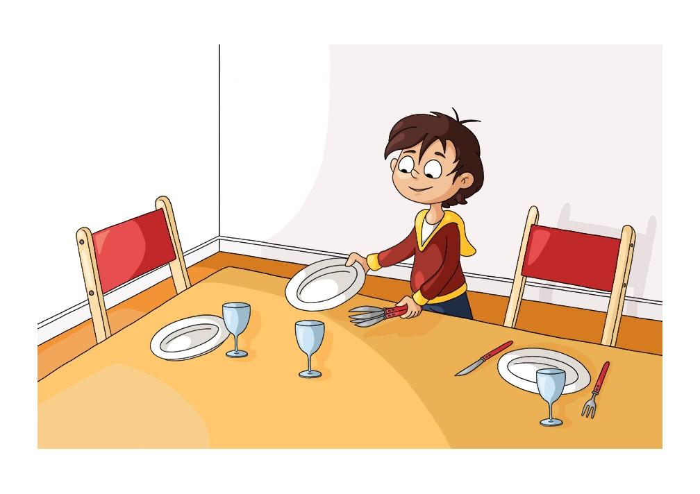Illustration parascolaire mettre la table