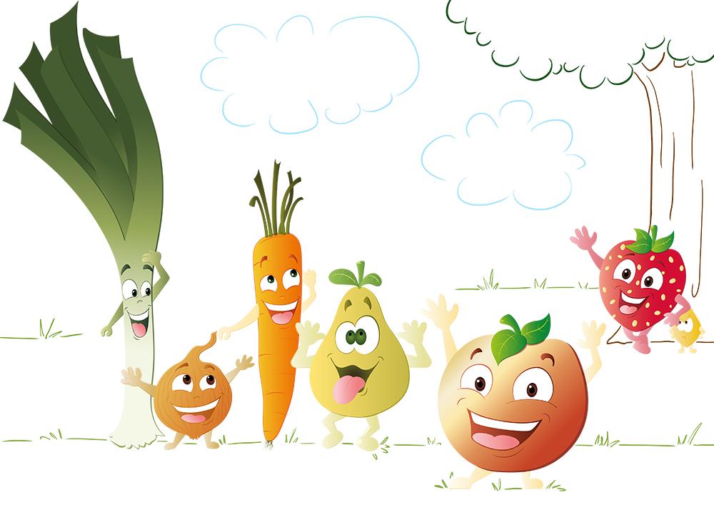 Mangez 5 fruits et légumes par jour – Dinett Illustration