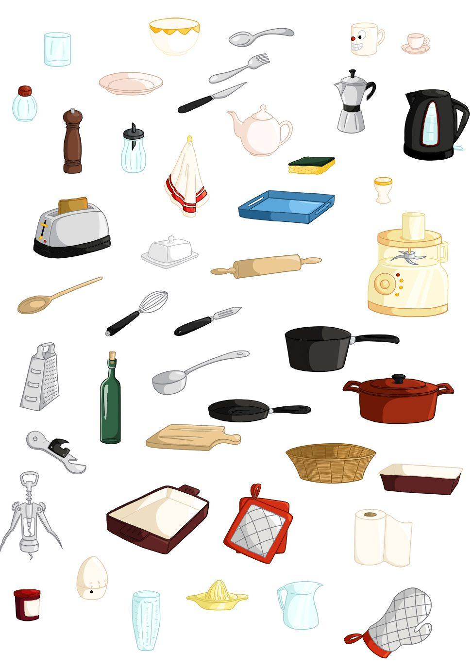 Illustrations parascolaire imagier objets cuisine