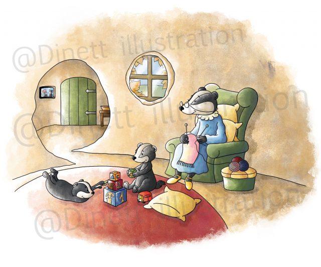 Illustration jeunesse d'une famille de blaireau